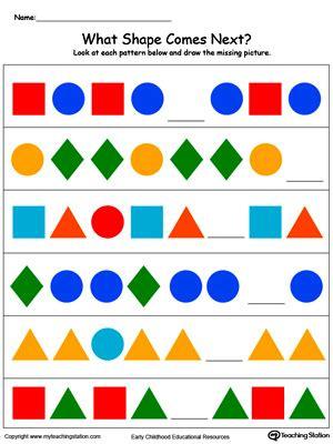 preschool patterns printable worksheets