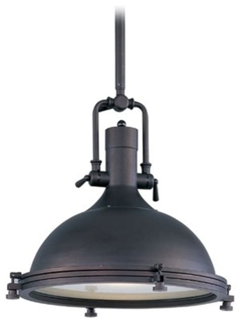nautical pendant light with frosted diffuser in bronze
