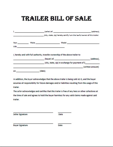 Blank Bill Of Sale For Boat And Trailer by Trailer Bill Of Sale Template Business