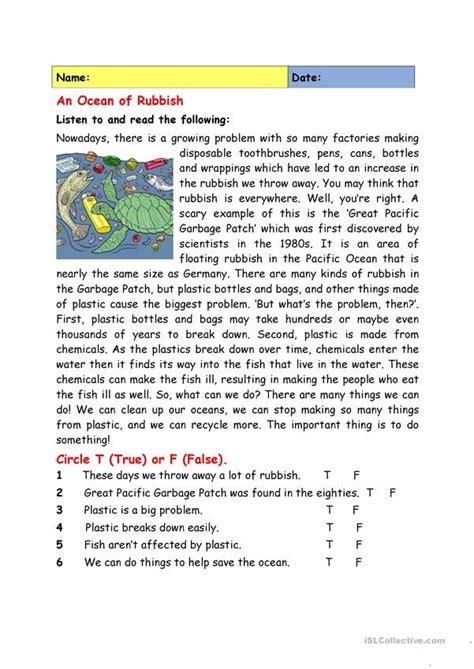 ocean  rubbish reading comprehension worksheets