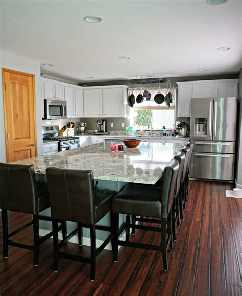 updated white kitchen  large center island simply