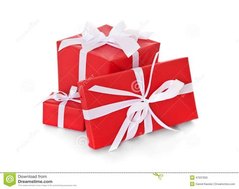 Pile Of Various Red Wrapped Presents Stock Photo Image