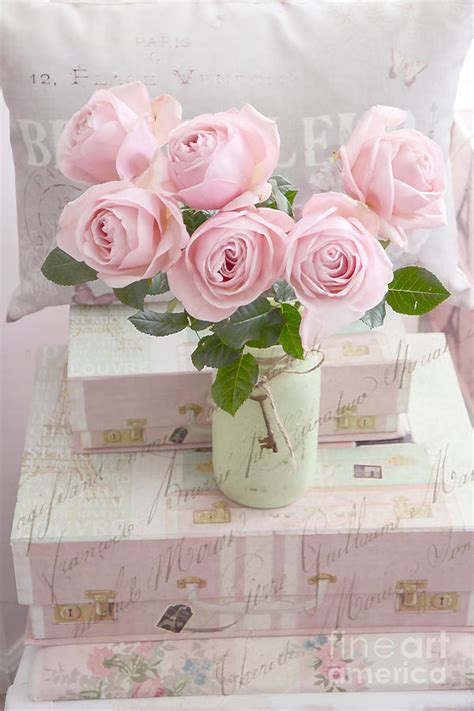pink shabby chic dreamy shabby chic cottage pink teal romantic floral bouquet roses in ball jar shabby chic