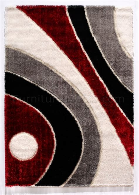 3 Pc Area Rug Set by Modern C8022 Red Area Rug