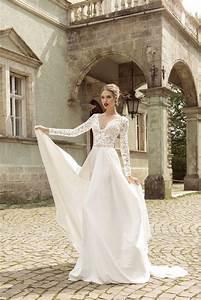 elegant v neck long sleeve with beading chiffon white lace With elegant long sleeve wedding dresses