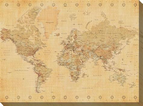toile carte du monde impression sur toile de la carte du monde aspect ancien acheter impression sur toile de la