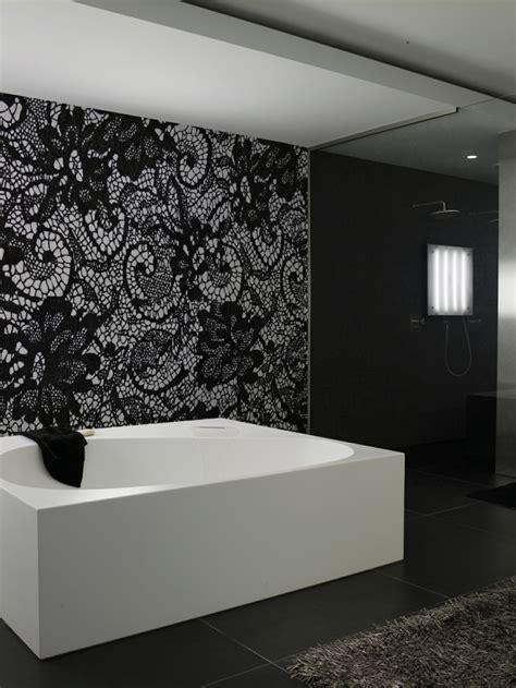 papier peint noir  idees pour  design mural
