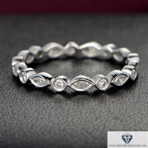 art deco marquise round cut bezel set diamond wedding