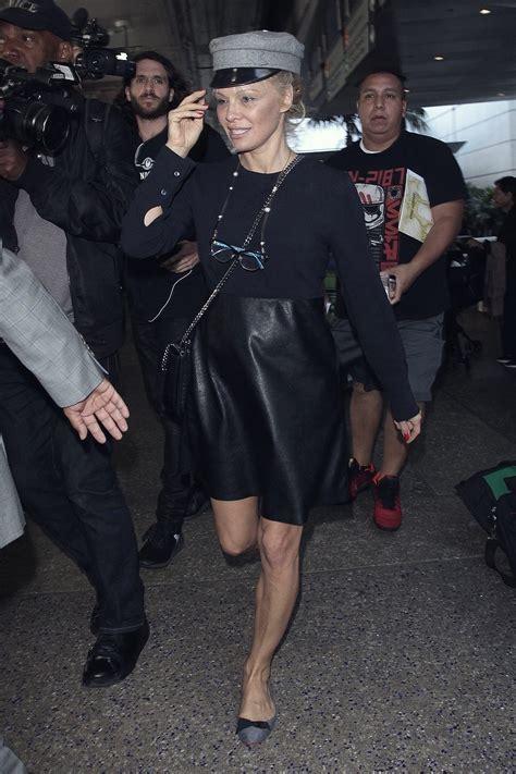 pamela anderson arrives  lax leather celebrities