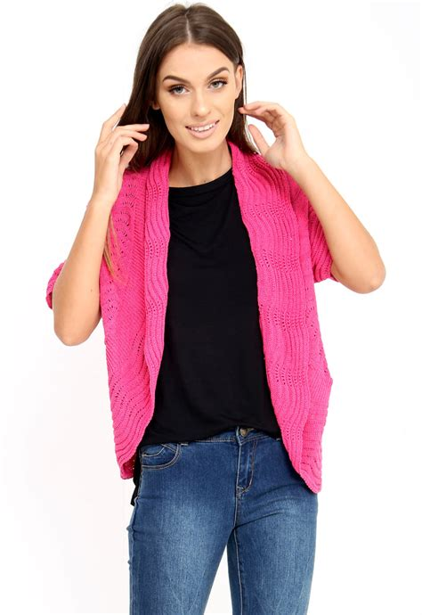 Pink Short Sleeve Cardigan Sweater