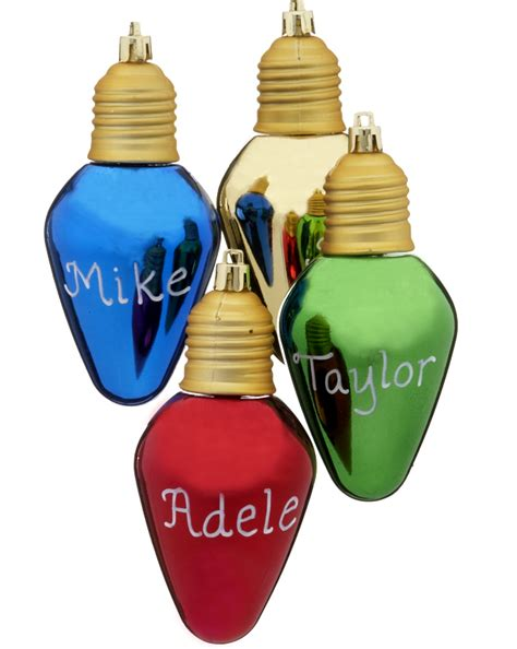 christmas light bulb personalized ornament