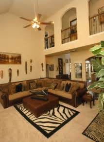 appealing safari themed living room with fanlight decor