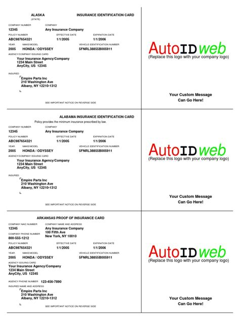 As the name suggests, an employment authorization card (ead) authorizes the person to work in the united states. Sample Auto Insurance Card Template | Vehicle Insurance | Liability Insurance | Free 30-day ...