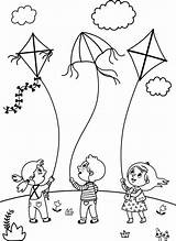 Coloring Flying Kites Children Clip Illustrations Playing Boys Cartoon Graphics Vectors Start sketch template