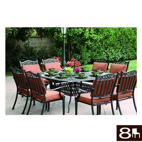 shop darlee 9 charleston cushioned cast aluminum patio dining set at lowes