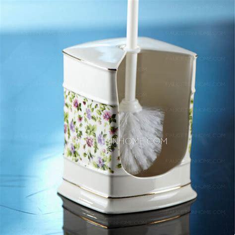 fresh purple floral patterned lighthouse porcelain toilet brush holder