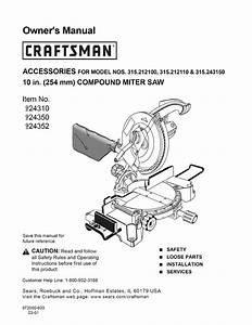 Craftsman 315212110 User Manual 10 Compound Miter Saw