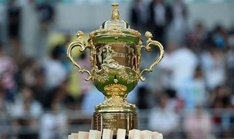rugby world cup final trophy    called  webb ellis cup   real gold rugby