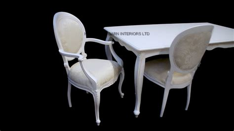 antique white chic white ornate dining table set