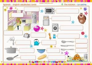 Vocabulario: la cocina, the kitchen Imprimir , Vocabulario español inglés, tarjetas