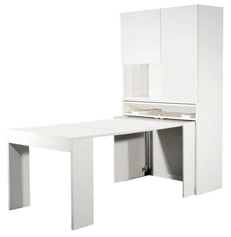 table de cuisine escamotable meuble avec table extensible genio blanc