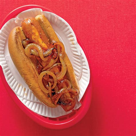 cheese stuffed hot dogs  spicy onions recipe rachael