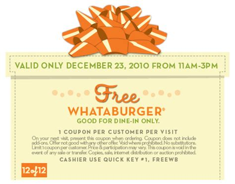 32433 Whataburger Printable Coupons by Whataburger Free Whataburger Today 12 23 The Coupon