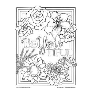 beyoutiful floral coloring page