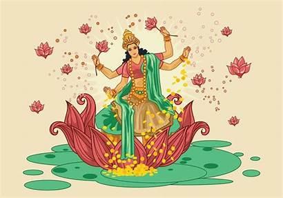 Lakshmi Goddess Vector Illustration Navratri During Clipart