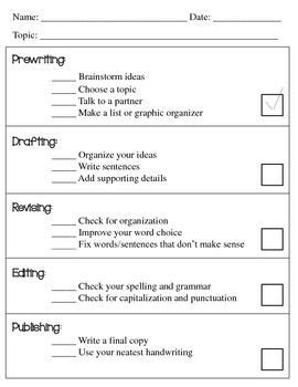 writing process checklist worksheet the writing process
