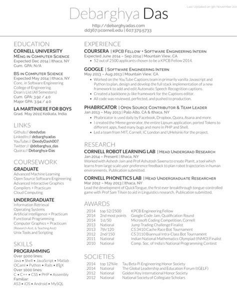 Cornell Resume Critique by Templates Awesome Resumecv And Cover Letter Pdf 2017