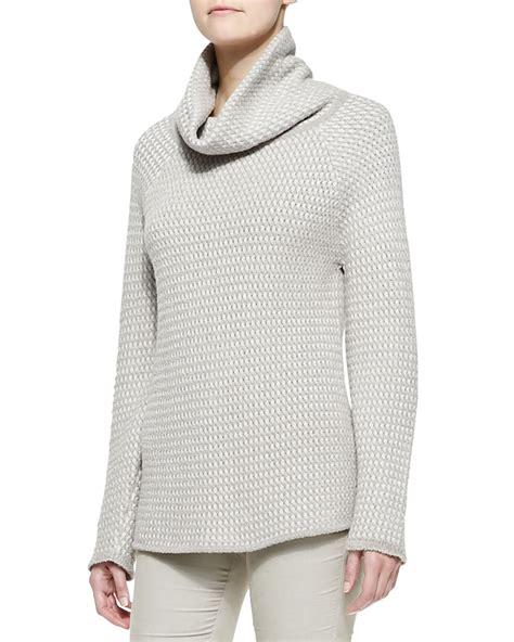 white cowl neck sweater armani basketweave knit cowl neck sweater in white lyst