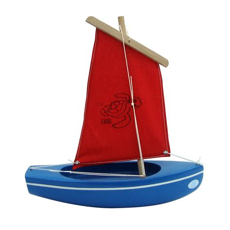 Sailing Boat Toy by Spirited Mama Wooden Toy Sailing Boat Blue Red 203 Turtle