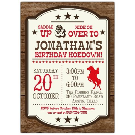 saddle  rodeo birthday party invitations paperstyle