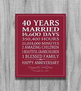 ruby 4oth anniversary gift personalized by With gift for 40th wedding anniversary