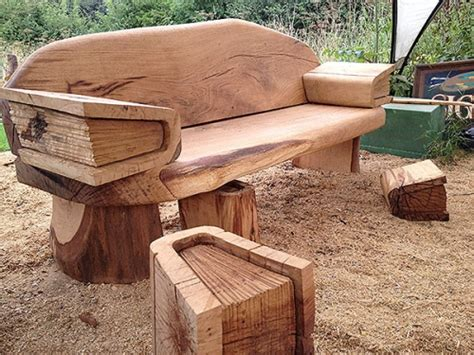 gallery oak reading bench chainsaw carving sculpture