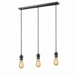 Lampe Suspension Industrielle : suspension 3 lampes industrielle market set oros noir m tal 592659 suspensions industrielles ~ Dallasstarsshop.com Idées de Décoration