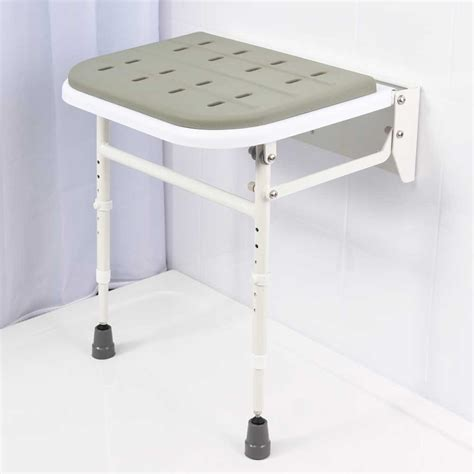 Wall Mounted Folding Shower Seat With Legs - folding shower seat with legs padded seat vat exempt