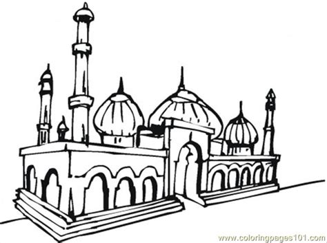 Coloring Mosque by Beautiful Mosque Coloring Page Free Buildings Coloring