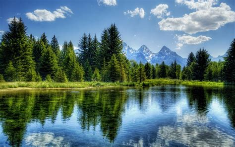 Nature, Hdr, River, Trees, Mountain, Landscape Wallpapers