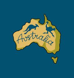 animals on the map of australia and oceania vector