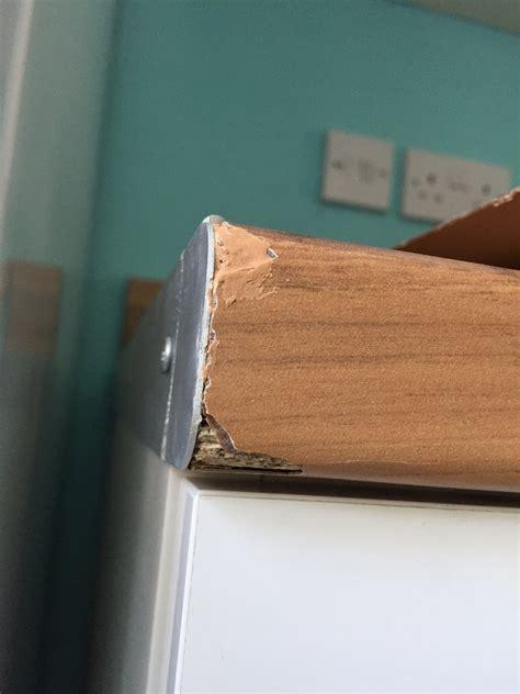 laminate worktops  plinths chipped  cutting