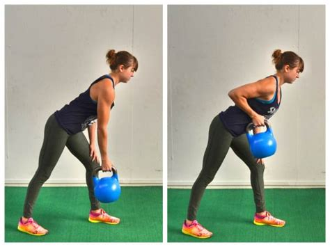 kettlebell exercises arm pulls row exercise fat strength single rows bent lunge redefiningstrength weight redefining burn biceps abs slow