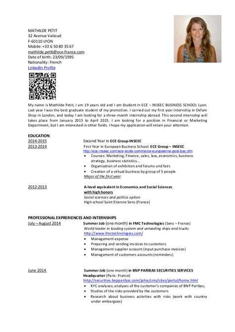 The Fault In Our Resume En Francais by Cv Mathilde Petit Resume