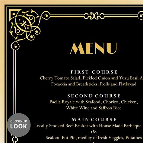 great gatsby art deco wedding menu card wedding menu