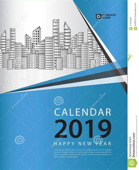 cover desk calendar   year template vector book