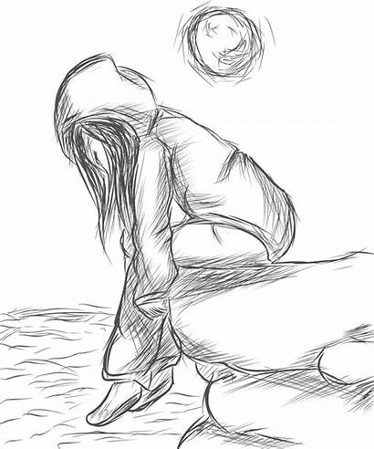 Lonely Drawing Drawings Sketches Sad Sketch Awesome