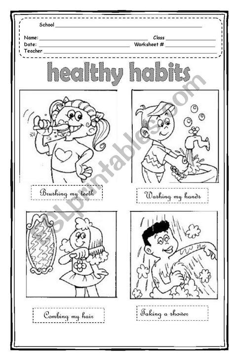 healthy habits esl worksheet by maleandra