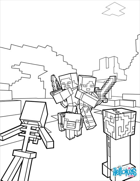 minecraft coloring page fight   mobs coloring