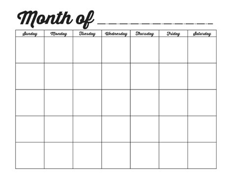 Blank One Month Calendar Template by Family Binder Printables The Creative